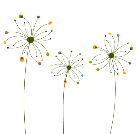 dry flies: Abstract autumnal dandelion flowers isolated. Vector illustration Illustration