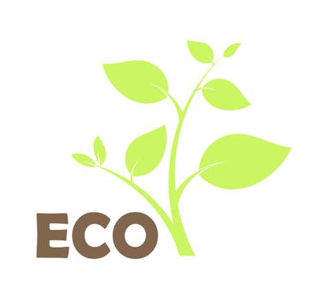 Environmental eco icon with plant. Vector illustration Vector