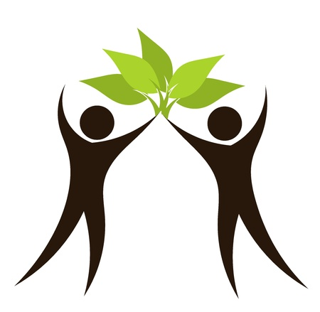 Silhouettes of couple with green leaves. Eco vector illustration