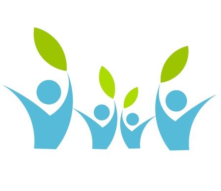 logo ecology: Eco friendly family concept - vector illustration Illustration