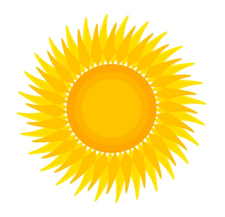 Sun illustration isolated over white. Vector icon