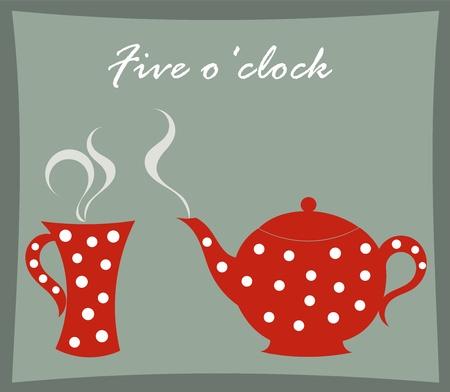 tarde de cafe: La hora del té - tetera y tazas de ilustración vectorial