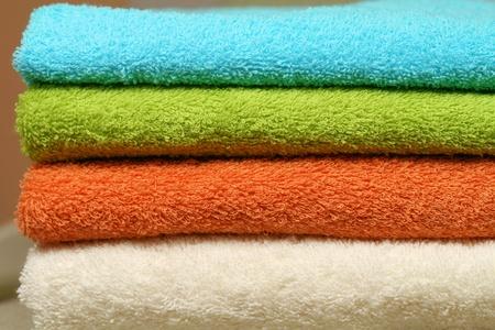 orange washcloth: Colorful towels Stock Photo