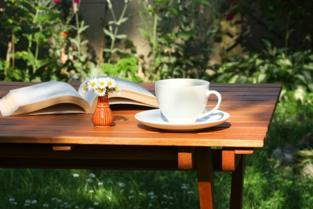 Coffee and book in the garden Stock Photo - 12935222