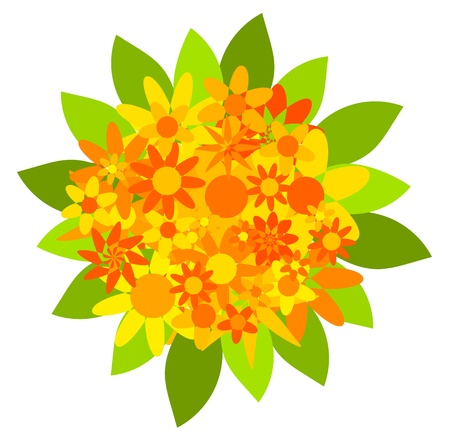 yellow vector: Bouquet of orange and yellow flowers - vector illustration