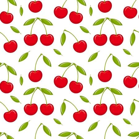kersenboom: Kersen - naadloze vector patroon