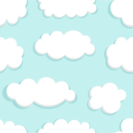 cloudy day: Blue sky and clouds seamless. Vector illustration