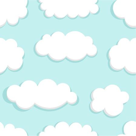 clouds cartoon: Cielo azul y nubes sin fisuras. Ilustraci�n vectorial