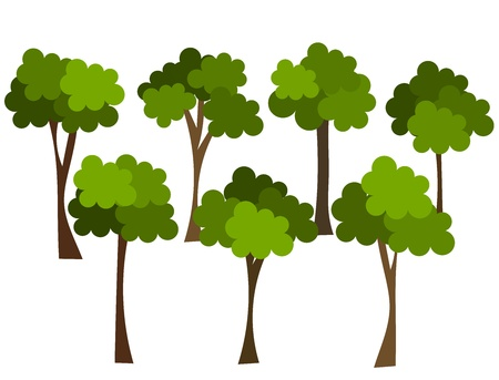 Trees group isolated over white. Forest concept vector illustration Vector