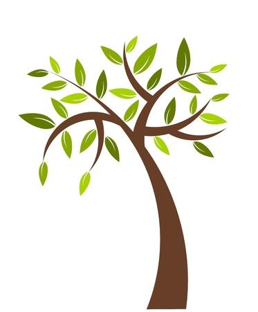 tree bark: Symbolic tree with green leaves - vector illustration Illustration