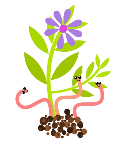 Funny worms and flower growing in soil. Spring vector Vector