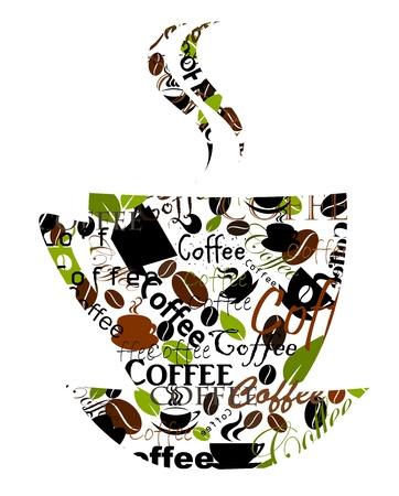 coffee beans: Transparante koffiebeker gemaakt van verschillende titels, bekers en bonen. Vector illustratie