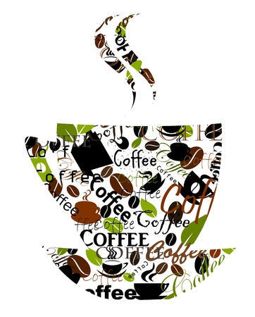Transparent coffee cup made of various captions, cups and beans. Vector illustration