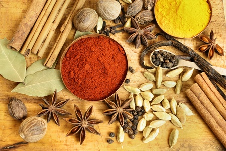 curry powder: Various spices background