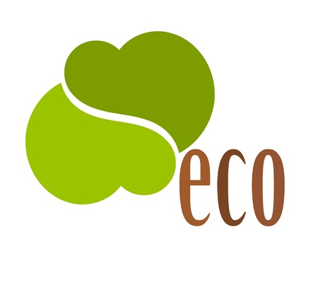 Creative eco symbol made of two green hearts isolated Vector
