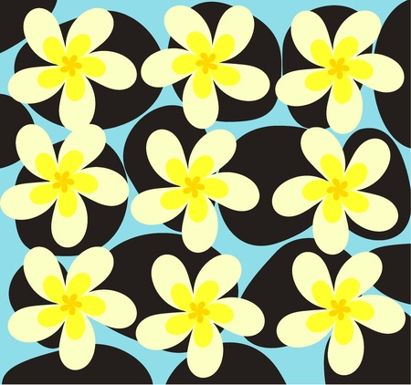 Spa texture with frangipani flowers - vector illustration Vector