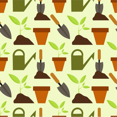 water can: Gardening seamless pattern. Spring work vector illustration