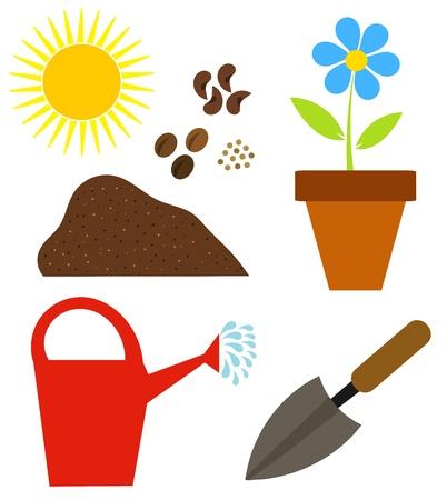 seed growing: Gardening elements - vector illustration
