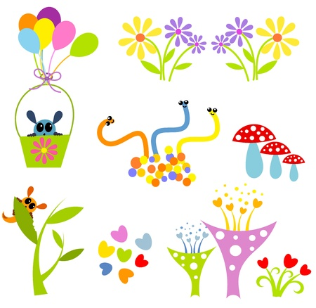 Creative colorful cute elements for design : funny creatures. Vector illustration Vector