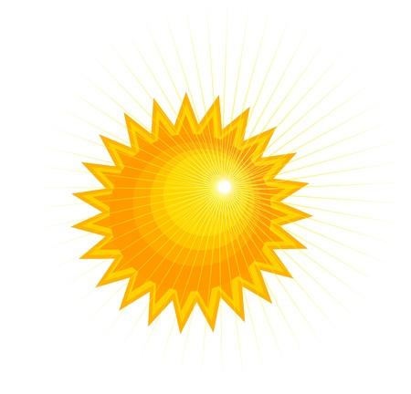 cartoon orange: Abstract sun over white. Vector illustration