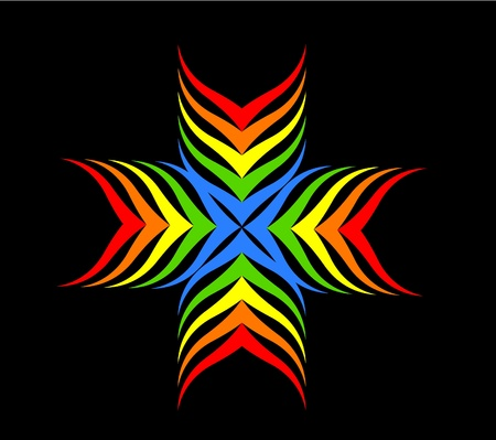 Rainbow cross motive over black illustration Stock Vector - 13055192