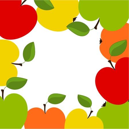 yellow apple: Apple border illustration Illustration