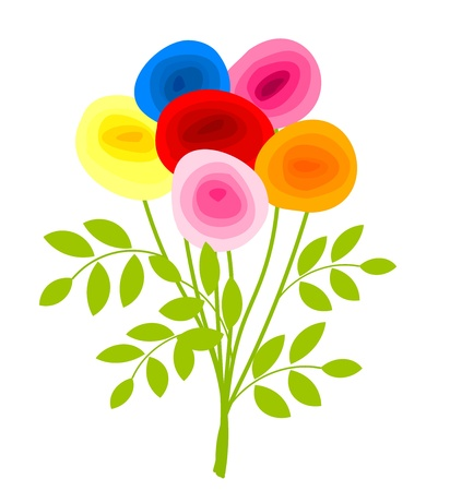 Bouquet of colorful roses. Vector