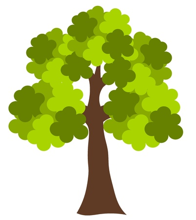 Big green oak tree vector illustration Vector