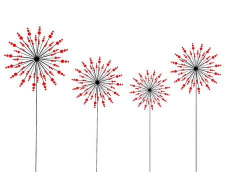 Abstract dandelion flowers - red and black. Vector illustration Vector