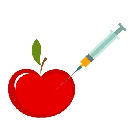 modificaci�n: La modificaci�n gen�tica de la manzana. Ilustraci�n vectorial Vectores