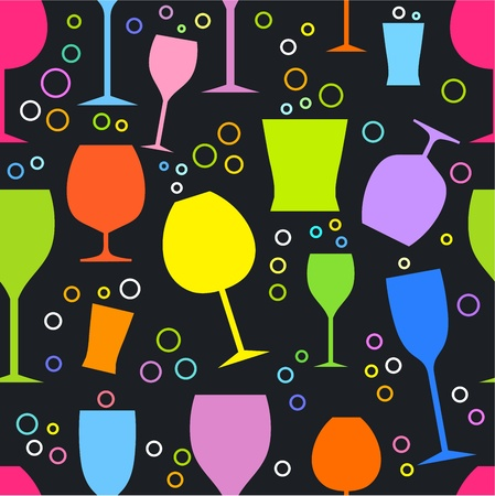 martini glass: Colorful glasses - seamless vector pattern