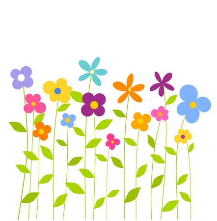 Cheerful fantasy spring flowers growing. Vector illustration Vector