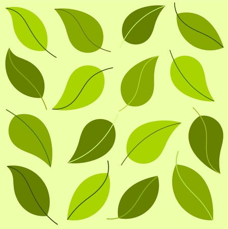 Green leaves bakckground. Vector illustration