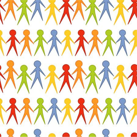 human chain: Colorful people seamless pattern. Vector illustration