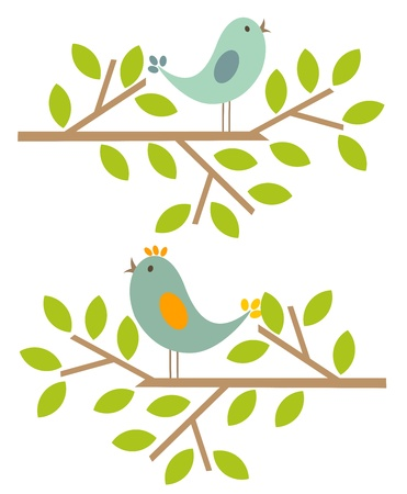 Couple of birds singing spring song. Vector illustration