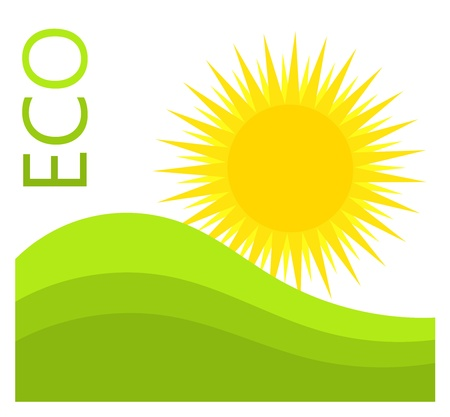 Sun and green hills. Eco label vector illustration