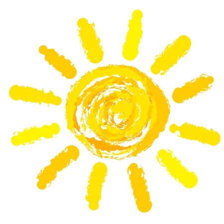 luz solar: Drawing of sun. Vector illustration