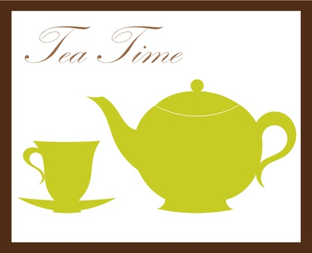 Teapot and tea cup. Vector illustration Vector