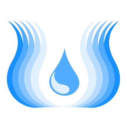 water logo: Water symbol with waves and drop. Vector illustration Illustration