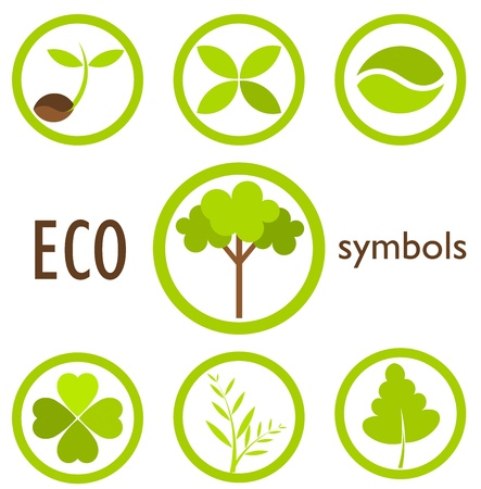 saplings: Set of eco icons and symbols in circles. Vector illustration Illustration