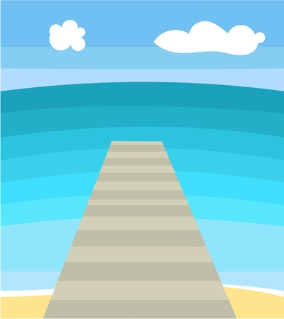 footbridge: Sea bridge. Vector illustration Illustration