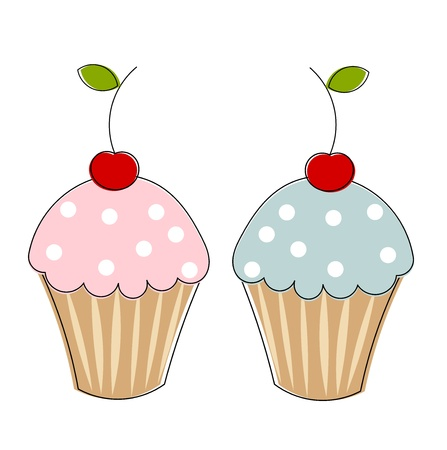Two cupcakes with cherries. Vector illustration Vector