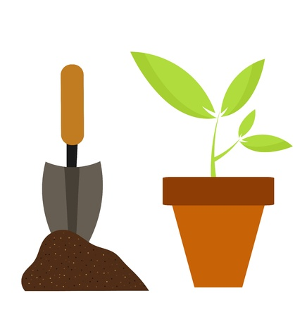 seedling growing: Planting flower in pot. Gardening vector illustration