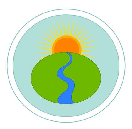 Landscape with river and sun - vector emblem Stock Vector - 13196538