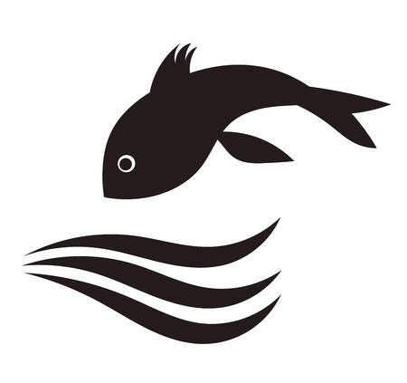 fish silhouette: Fish jumping in water. Vector illustration Illustration