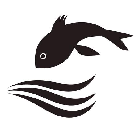 logo poisson: Poissons sautant dans l'eau. Vector illustration