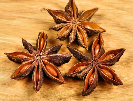 Star anise spice on wooden background photo