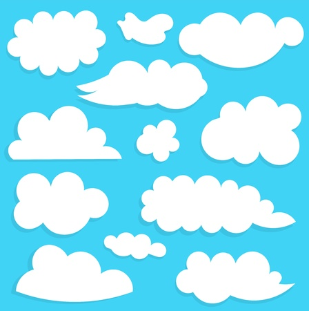 Clouds collection on blue sky. Vector