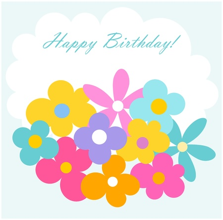 Colorful flowers birthday card. Vector