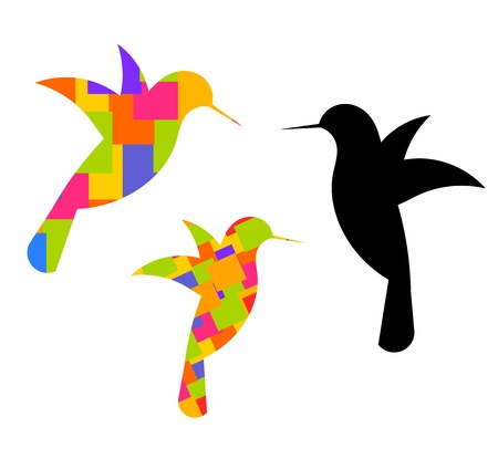 birds of paradise: Colorful abrstract hummingbirds silhouettes.